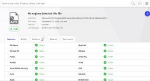 Kiểm tra tệp APK Tubemate với Virustotal